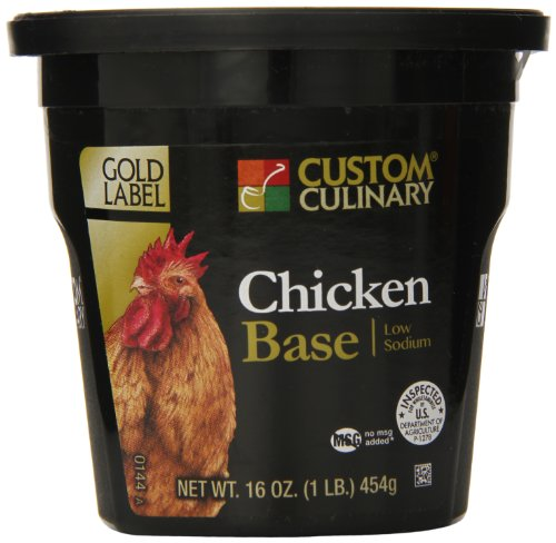 Low Sodium Soup Base - Custom Culinary Gold Label Low Sodium Base, Chicken, 1 Pound