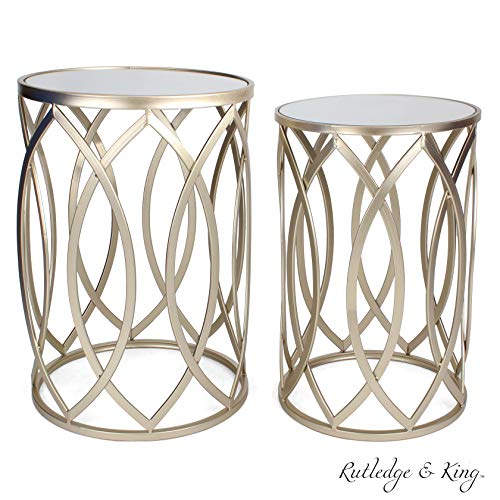 Round End Table Set – Gold End Tables with Mirrored Tops – Nesting Round Accent Tables – Gold and Mirrored Metal Side Tables – Rutledge King Blufton End Table Set