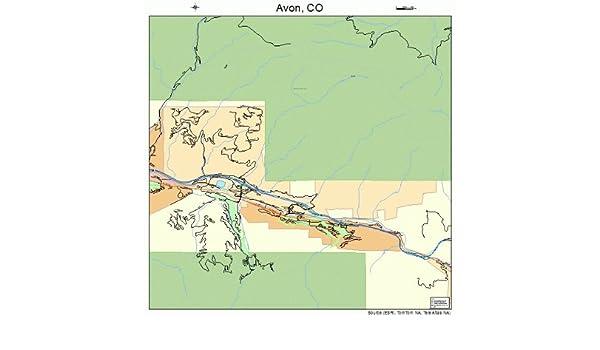Amazon Com Large Street Road Map Of Avon Colorado Co Printed