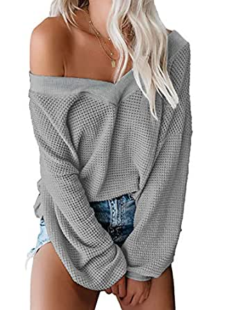 GRAPENT Women's Grey Oversized Off The Shoulder V Neck Batwing Sleeve Sweater Knit Pullover Fall Jumper Tops Small