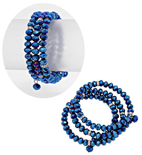 Deep Blue Argent Glass Spiral Bracelet Modern Design (#150) (Glass Spiral Bracelet)