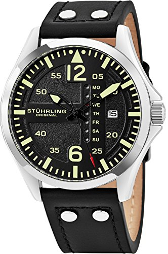 Stuhrling Analog Watch - Luxury Watches for Men – Aviator Watch -Stainless Steel - Water Resistant Sports Watch