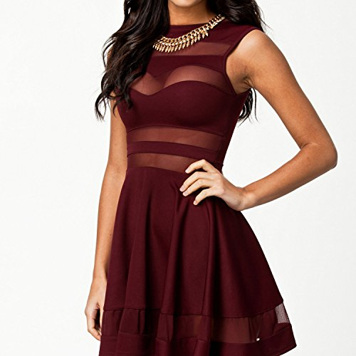 Kleid - TOOGOO(R) Sommer reizvolle Gitter Ausschnitt herzfoermiger Ausschnitt aermellos Kleid weinrot L