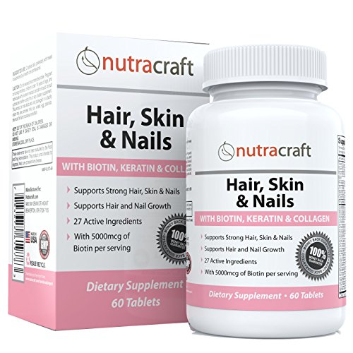#1 Hair, Skin & Nails Supplement with 5000mcg of Biotin, Keratin, Collagen, MSM, Silica & Hyaluronic Acid to Promote Hair Growth, Stronger Nails and Glowing Skin - 60 Tablets ()