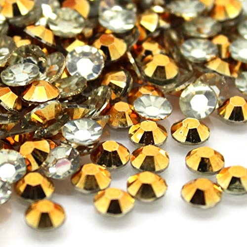 Zbella 3,000 Piece Resin 14-Facet Flat Back Round Rhinestones 3mm ss12, 4mm ss16, 5mm ss20 Bulk Free Rhinestone Picker Wax Pencil (Gold)