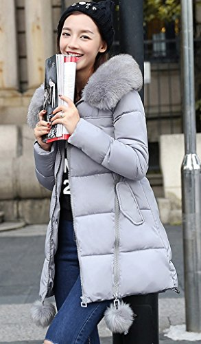 Stella Cappotto 3xl Stretto Giù Hooded Signora Pom Cappotto Grigio Zipper Bigood Coreano Z4Hxqnw7O