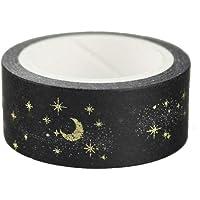 Potelin Black Moon Star Cintas Washi Decorativas Washi Cinta de Enmascarar Para Manualidades Libros de Recuerdos Artesanía Bricolaje y Envoltura de Regalos Suministros para Fiestas de Oficina Oro