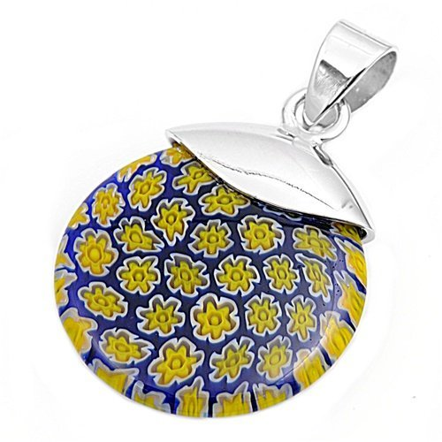 25MM .925 Sterling Silver Italian Venetian Island of Murano Glass ROUND Pendant