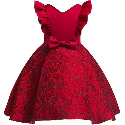 Girls Dress Backless Floral Flare Sleeve Bow Kids Dresses for Girls Princess Dress,WineRed2,3T]()
