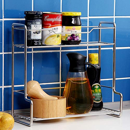 Shelf Storage Racks Pot Rack Storage Basket Shelf Baskets Kitchen Seasoning Storage Shelf Punch Free Stainless Steel Double Layer Storage Shelf ZHAOYONGLI by ZHAOYONGLI-shounajia (Image #1)