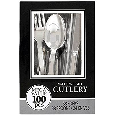 Amscan 439503.99 Boxed disposable-cutlery-sets, One Size, Silver: Kitchen & Dining