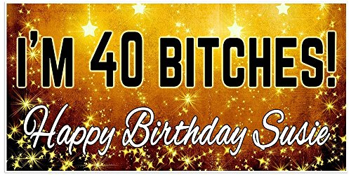40th Birthday Banner Personalized Party Backdrop Decoration