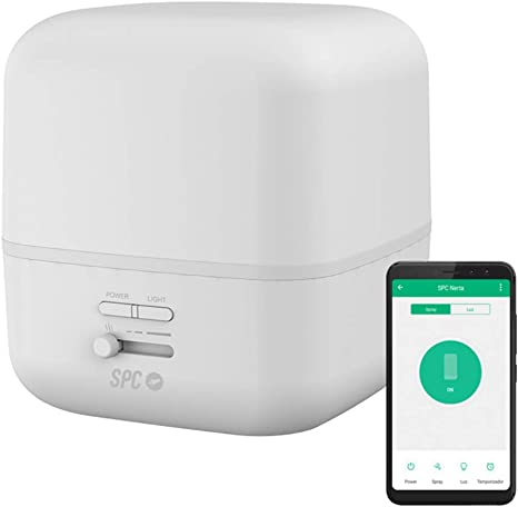 SPC Nerta Difusor de Aromas, Humidificador Ultrasónico, Purificador de Aire y Lámpara de Noche Smart Wi-Fi (400Ml, 11-26 h de duración, 7 colores LED, control remoto mediante app SPC IoT: Spc-Internet: Amazon.es: