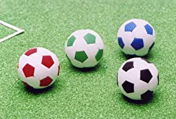 Soccer Ball Japanese Eraser. 4 Pack. Assorted Colors. By PencilThings