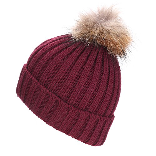 (Maoko Womens Winter Knit Pom Pom Beanie Hats- Slouchy Winter Ski Hat Caps)