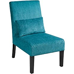 Roundhill Furniture Pisano Teal Blue Fabric Armless Contemporary Accent Chair with Kidney Pillow, Single