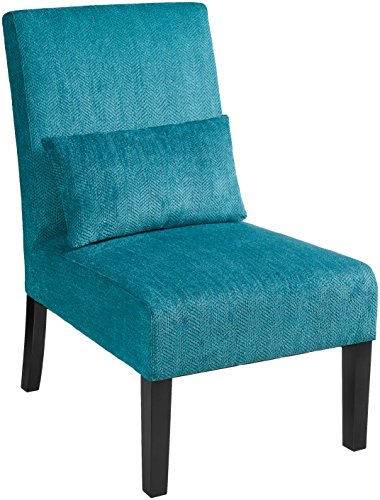 - Roundhill Furniture Pisano Teal Blue Fabric Armless Contemporary Accent Chair with Kidney Pillow, Single