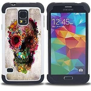 For Samsung Galaxy S5 I9600 G9009 G9008V - Skull Floral Deep Metal Spring Death Deep Dual Layer caso de Shell HUELGA Impacto pata de cabra con im????genes gr????ficas Steam - Funny Shop -
