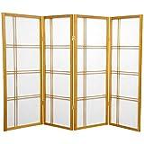 Oriental Furniture 4 ft. Tall Double Cross Shoji Screen - Honey - 4 Panels