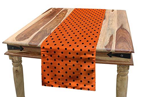 ABAKUHAUS Naranja Camino de Mesa, Vintage Tile Los Lunares, Decorativo para el Comedor o Sala de Estar Facil de Limpiar, 40 x 225 cm, Naranja Ne
