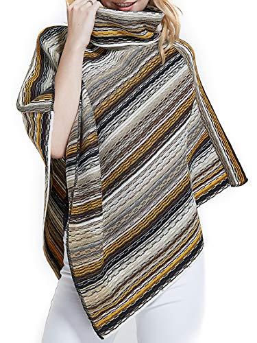 Spicy Sandia Ponchos for Women Stripe Turtleneck Poncho Pullover, Khaki/Black