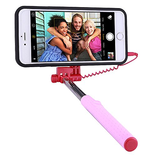 Price comparison product image PROG-X iPhone 6S Plus Selfie Stick,  Portable Extendable Monopod Wired Selfie Stick Case Cover for Apple iPhone 6 Plus / iPhone 6S Plus (Hot Pink)