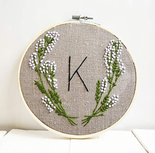 Custom initial Embroidery hoop art Monogram wedding gift Floral rustic hand embroidered custom initial sign