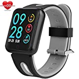 Fitness Tracker Waterproof,Miya Activity Tracker Watch Colorscreen Sport Smart Watch,Smart Bracelet with Heart Rate Blood Pressure Calories Pedometer Sleep Monitor Call/SMS Remind for Cellphone - Gray