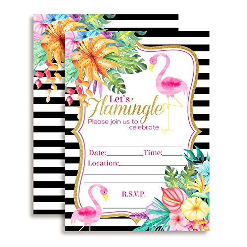 Watercolor Tropical Flamingo Fill In Party Invitations, set of 10 including (Tropical Theme Invitations)
