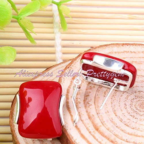 10X20mm Rectangle Stone Beads Agates Coral Cat Eye Jades Tibetan Silver Trendy Fashion Style Clamp Earring 1 Pair Free Shapping (Manmakde Coral)