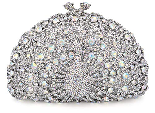 Mossmon Luxury Crystal Clutch Women Peacock Rhinestone Evening ()