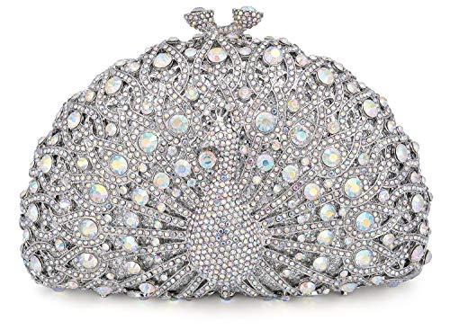 (Mossmon Luxury Crystal Clutch Women Peacock Rhinestone Evening Bag)