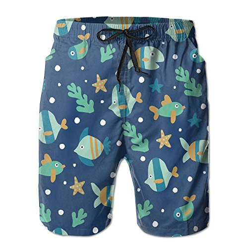Kitty Pete Men's Tropical Fishes Sea Life-01 Quick Dry Swimsuit Trunks Short (Set Life Short Sea)