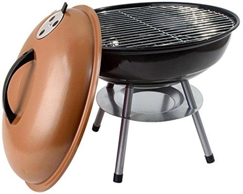 alp Classic 14″ Charcoal Barbecue Grill Portable BBQ Heavy Steel W/Removable Legs Ash Catcher Copper Color