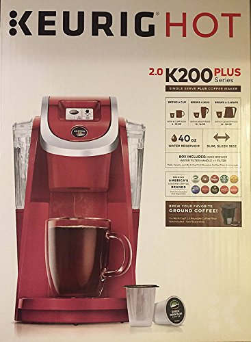 Keurig K200 Plus Series 2.0 Single Serve Plus Coffee Maker Brewer- Imperial Red (New Color)