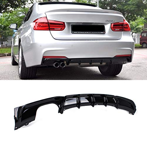 Fandixin F30 Diffuser, FRP Rear Bumper Diffuser Lip Dual Muffler Single Out for BMW 3 Series F30 320i 325i 328i 335i M-Tech M Sport Gloss Black