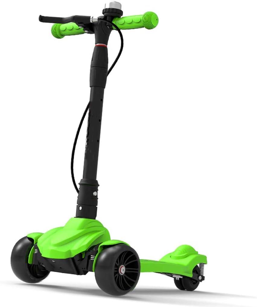 キックボード キックスクーター ハンドブレーキ付きキックスクーター、アルミ合金スクーターTスタイルハンドルバー、子供向けギフト、子供、男の子、女の子、負荷80kg (Color : 緑) 緑