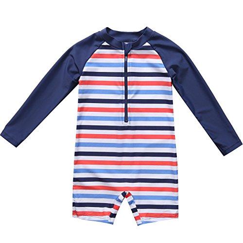BeautyIn Baby Boys Girls One Piece Swimsuit Long Sleeve Zip Rash Guard Swimwear by beautyin