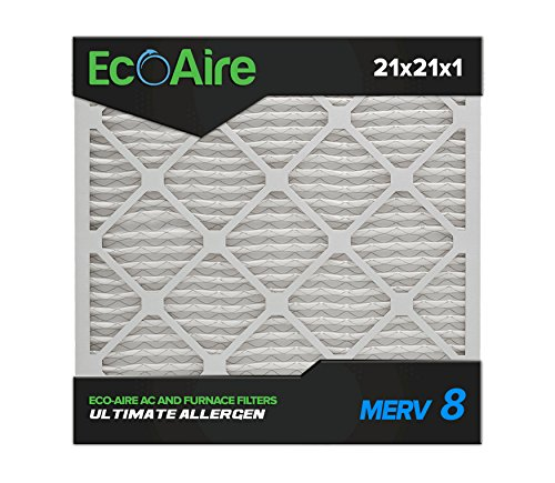 Eco-Aire 21x21x1 MERV 8, Pleated Air Filter, 21x21x1, Box of 6, Made in the USA