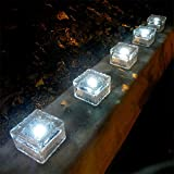 iGlow 6 Pcs Outdoor Bright White LED Solar Ice Rock Crystal Glass Landscape Path Lights Post Cap Deck Garden Decoration