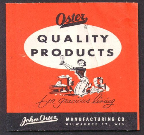 Oster Osterizer Mixer Hair Dryer Stim-U-Lax Massagett Clipper folder 1955