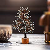 Crocon Larimar Gemstone Money Tree Feng Shui Bonsai