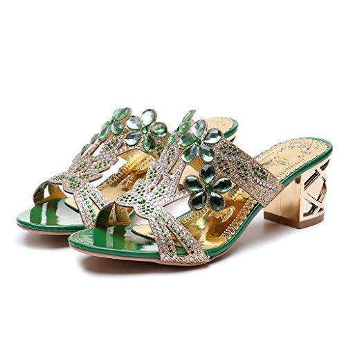 WENSY Home Shoes, Ladies Bohemian Thick Crystal Thick with Roman Slippers Sandals Open Toe Casual Shoes(C-Green,36) - Bejeweled Pumps