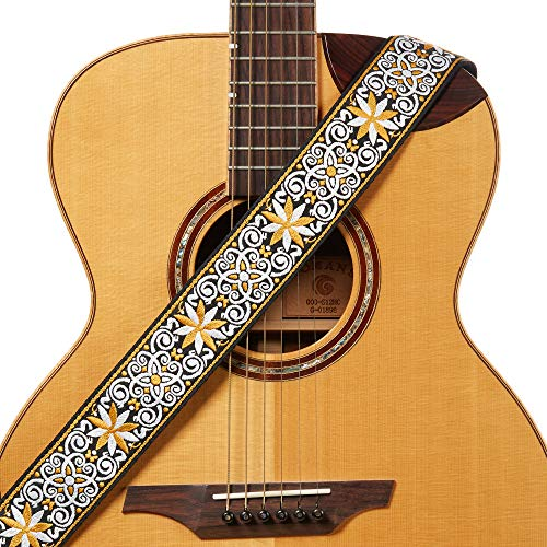 Amumu Hootenanny Embroidery Guitar Strap Yellow Cotton for Acoustic, Electric and Bass Guitars with Strap Blocks & Headstock Strap Tie - 2