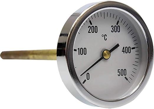 Termómetro para Horno de leña, Escala de 0 a 500ºC con Vaina de 20 ...