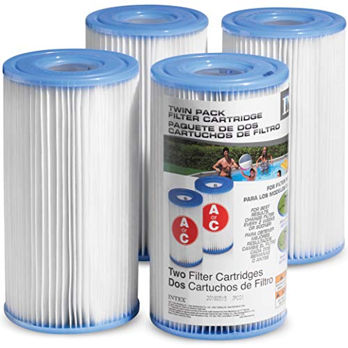 Intex Pool Filter Cartridges - Intex Cartridge Filter Type A and C For Intex Pool Filter Pumps set of (4) - Bundled with (2) SEWANTA Oil Absorbing Sponges.  (Best Above Ground Pool Filter)
