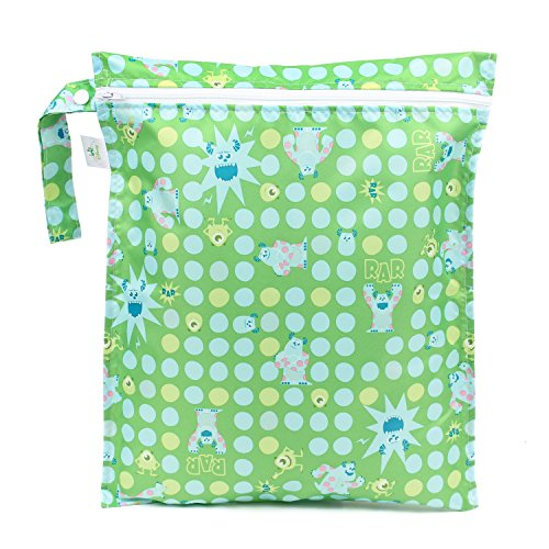 Bumkins Disney Baby Zippered Wet Bag, Monsters Inc. Green (Baby Monsters Inc)