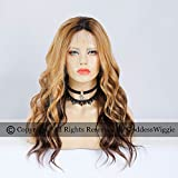 Highlight Blonde Lace Front Wigs Human Hair Dark Root Glueless Body Wavy Wigs (20inch 150density)