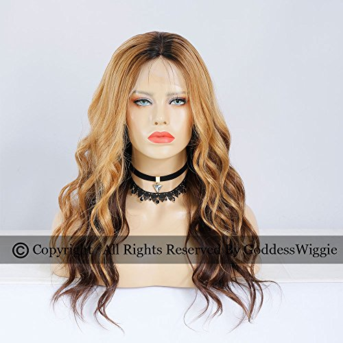 Highlight Blonde Lace Front Wigs Human Hair Dark Root Glueless Body Wavy Wigs (20inch 150density) by Goddess