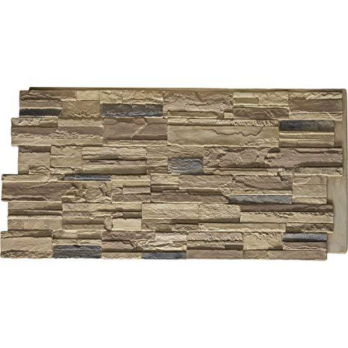 (Ekena Millwork PNU24X48CACO Cascade Stacked Stone Stonewall Faux Stone Siding Panel 48